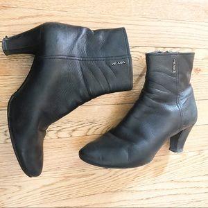 Prada Black Ankle Booties 38.5/8.5